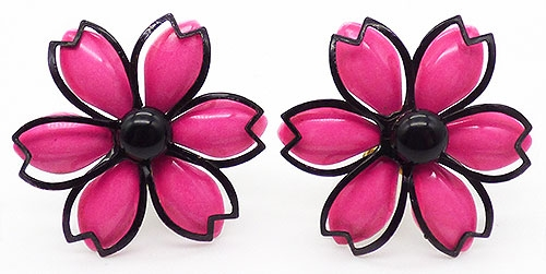 Florals - Hot Pink Enamel Flower Earrings
