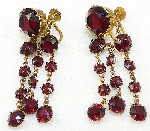 Germany - West Germany Garnet Glass Dangle Earrings