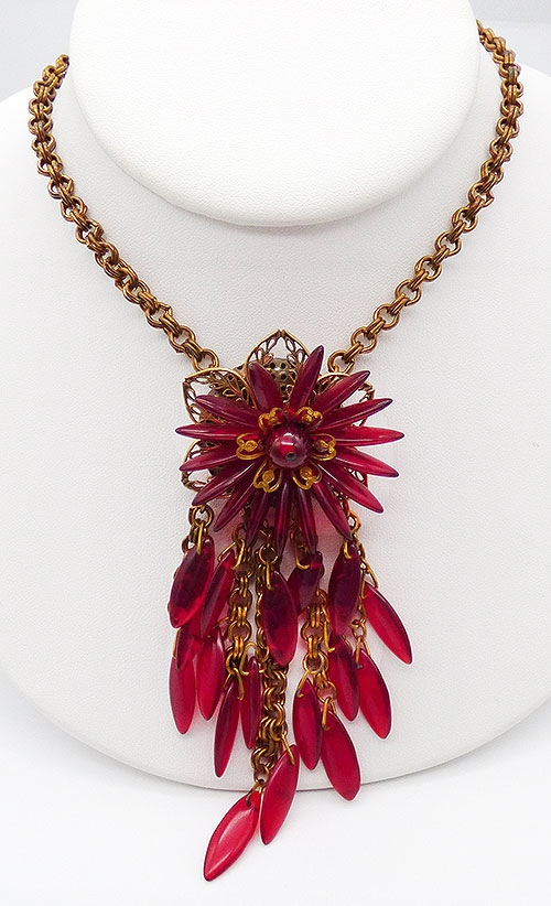Newly Added Red Glass Flower and Dangles Filigree Necklace