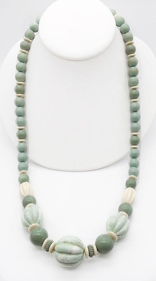 Necklaces - Sage Green Vintage Plastic Bead Necklace