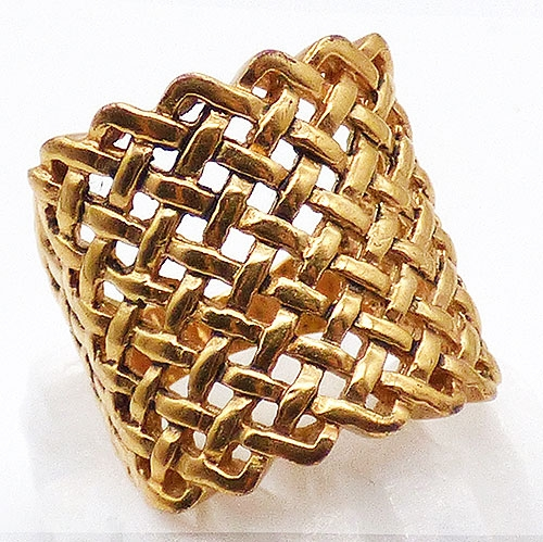 Rings - Gold Plated Wide Basketweave Ring