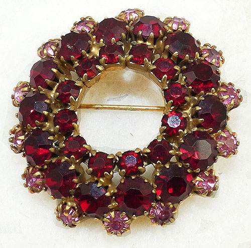 Newly Added Ruby Red Rhinestone Circle Brooch