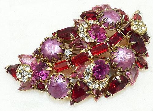 Newly Added Red Rhinestone Pink Pearl Leaf Brooch