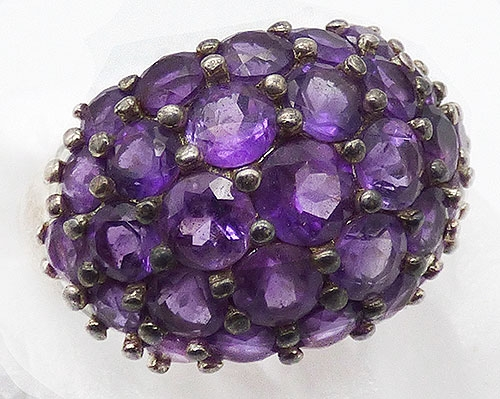 Semi-Precious Gems - Sterling Silver Amethyst Domed Ring
