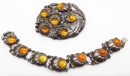 Florals - Pot Metal Floral Bracelet Brooch Demi-Parure