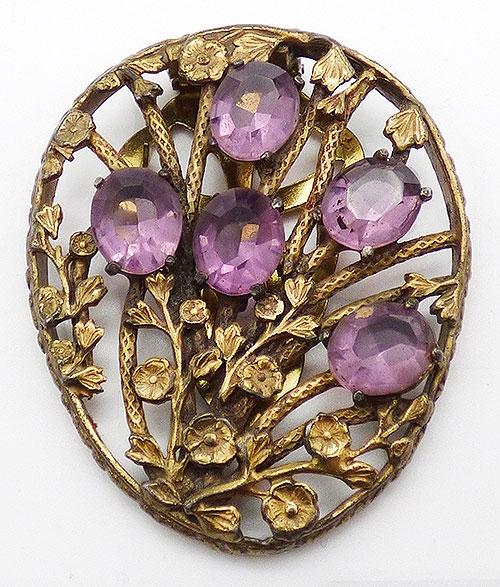 Art Nouveau - Art Nouveau Amethyst Flowers Dress Clip