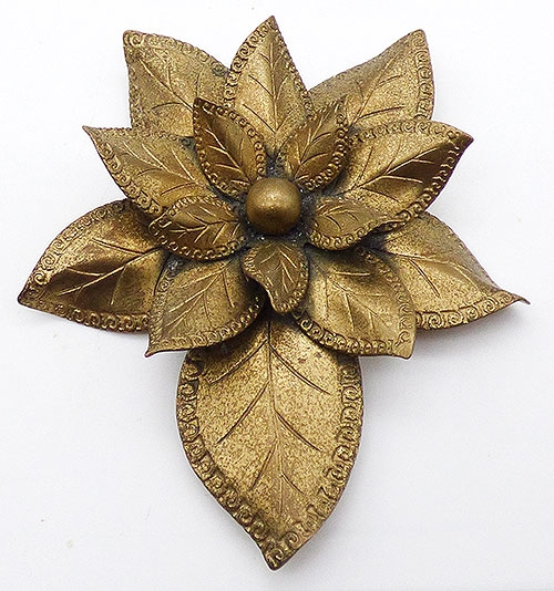 Newly Added Brass Layered Leaves Dress Clip