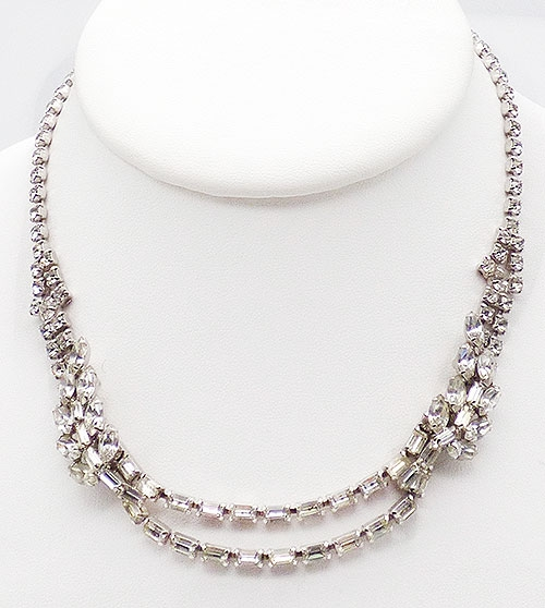 Bridal, Wedding, Special Occasion - Rhinestone Baguette Swags Necklace