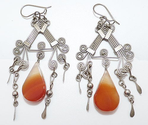 Semi-Precious Gems - Agate Drop Silver Dangle Boho Earrings