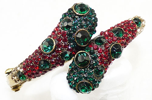 Bracelets - Green and Red Rhinestone Bypass Bracelet