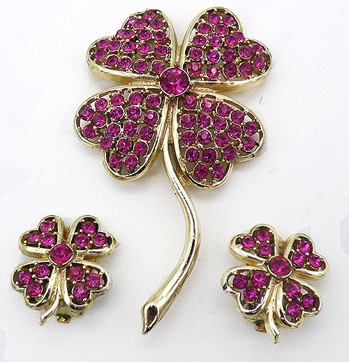 Florals - Sarah Coventry Pink Cover Brooch Set