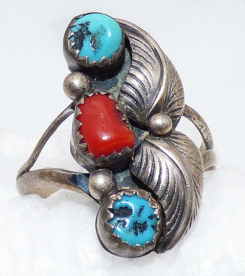 Rings - Navajo Sterling Turquoise and Coral Ring