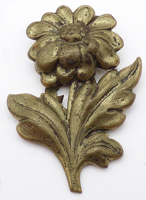 Newly Added Vintage Brass Sunflower Dress Clip