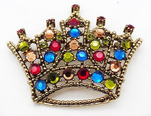Newly Added Weiss Multi Rhinestone Crown Brooch