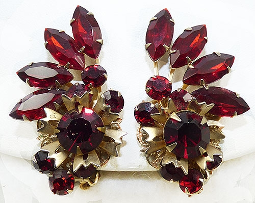 Misc. Signed A-F - Beau Jewels Red Rhinestone Earrings