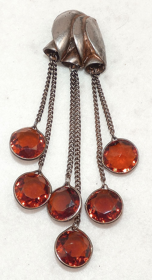 Newly Added Amber Glass Dangles Dress Clip
