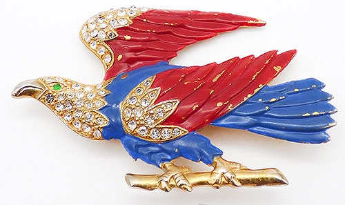 Newly Added Patriotic Enameled Eagle Brooch
