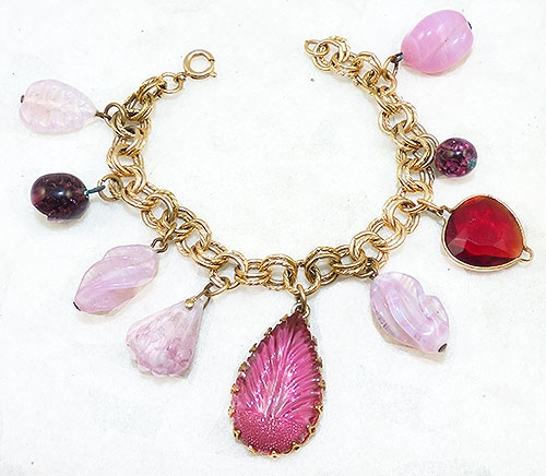 Newly Added Pink Glass and Beads Charm Bracelet