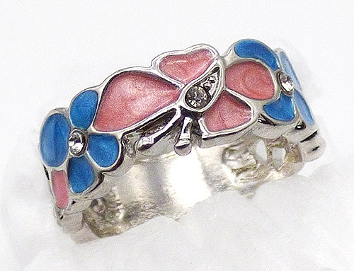 Rings - Enameled Butterfly and Flowers Ring