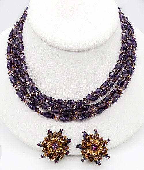 Haskell, Miriam - Miriam Haskell Amethyst Beads Necklace Set