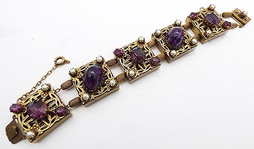 Bracelets - Kafin NY Amethyst Filigree Slide Bracelet