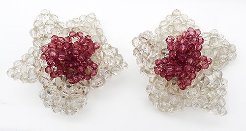 Florals - Italian Huge Lucite Bead Flower Earrings