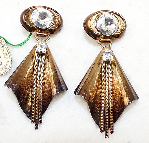 Newly Added Il Cesello Italy Copper Rhinestone Earrings