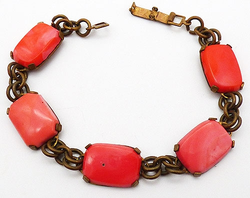 Bracelets - Art Deco Orange Glass Bracc Bracelet