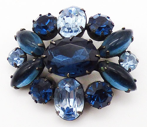 Brooches - Montana Blue Rhinestone Brooch
