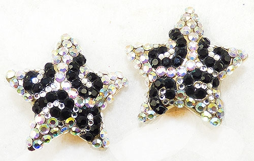 Newly Added Aurora and Black Rhinestone Star Earrings