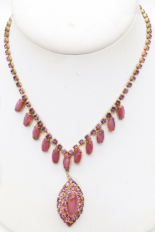 Newly Added Pink Rhinestone and Moonstone Necklace