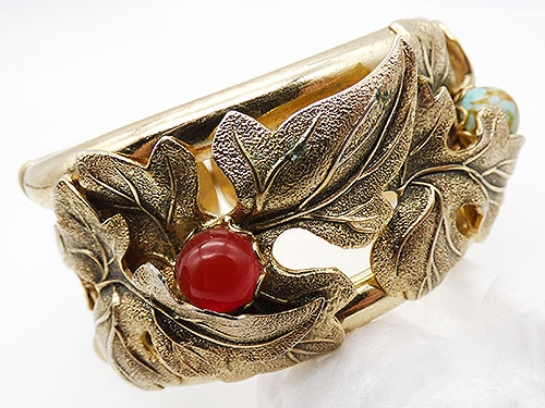 Bracelets - Whiting and Davis Gold Leaves Bracelet
