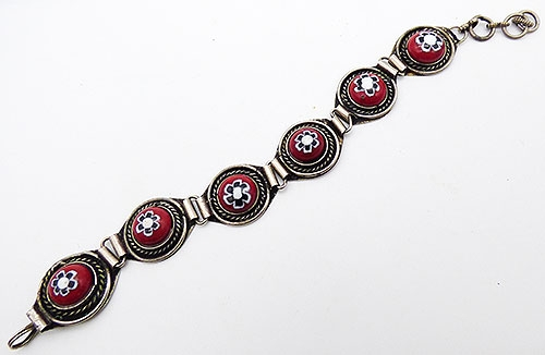 Bracelets - Red Millefiori Gass Cabochon Bracelet