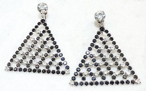 Newly Added Black and Clear Rhinestone Triangle Earrings