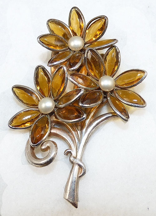 Florals - Topaz Glass Flowers Fur Clip
