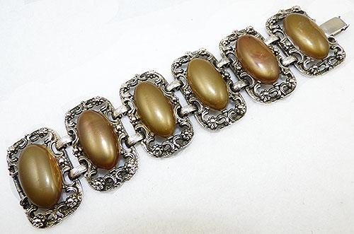Newly Added Gold Lucite Ovals Silver Link Bracelet