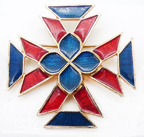 Newly Added Florenza Enameled Maltese Cross Brooch