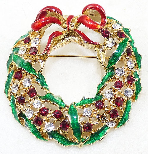 Brooches - Enamel Christmas Wreath Brooch