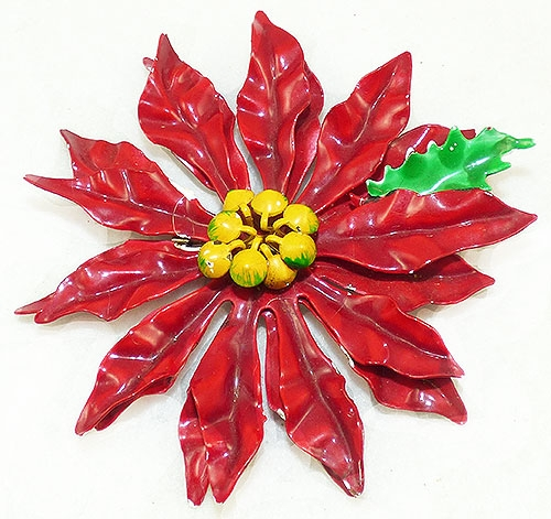 Florals - Huge Enameled Poinsettia Brooch