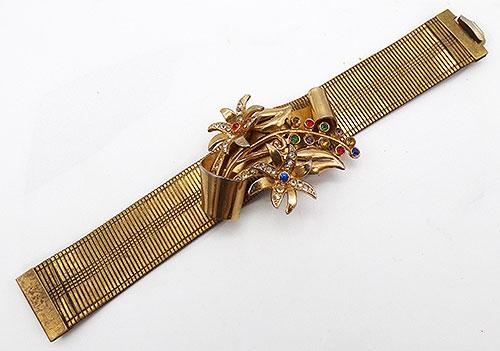 Bracelets - Retro Applied Floral Gold Band Bracelet