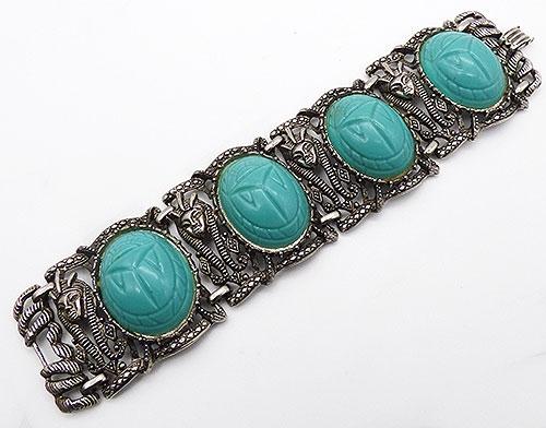 Bracelets - Aqua Scarab Egyptian Revival Bracelet