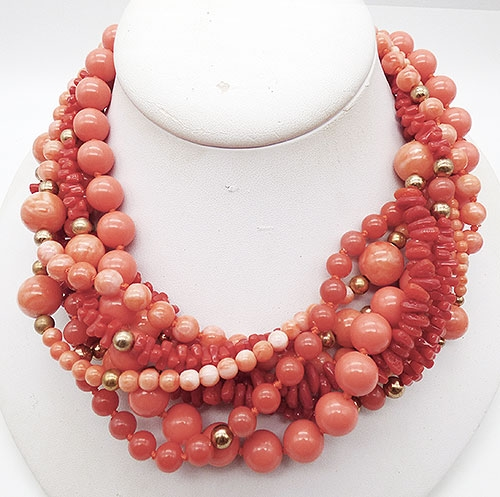Lane, Kenneth J. - Kenneth Lane Coral Beads Torsade Necklace