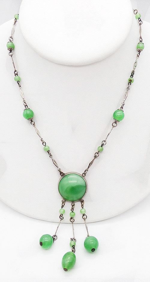 Czechoslovakia - Czech Green Satin Glass Necklace