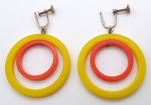 Newly Added Yellow and Orange Dangling Hoop Earrings