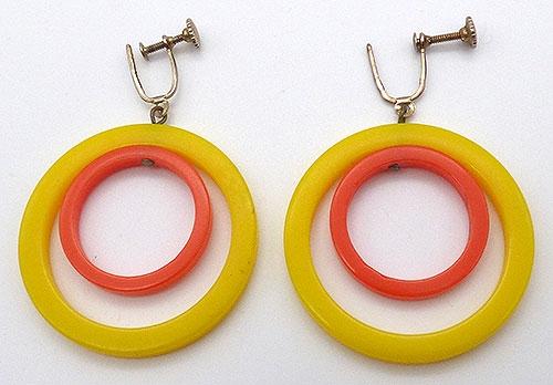 Earrings - Yellow and Orange Dangling Hoop Earrings