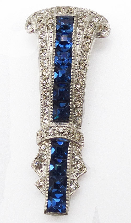 Dress & Fur Clips - Art Deco Blue Rhinestone Dress Clip