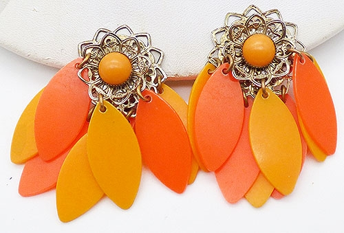 Newly Added Orange and Yellow Dangles Earrings