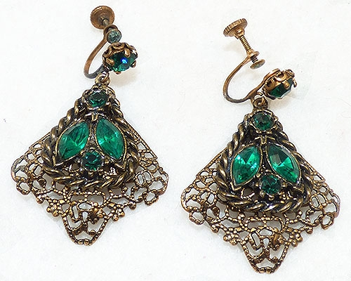 Czechoslovakia - Czech Filigree Green Rhinestone Earrings