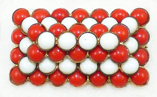 Newly Added Czech Red and White Glass Cabochon Brooch