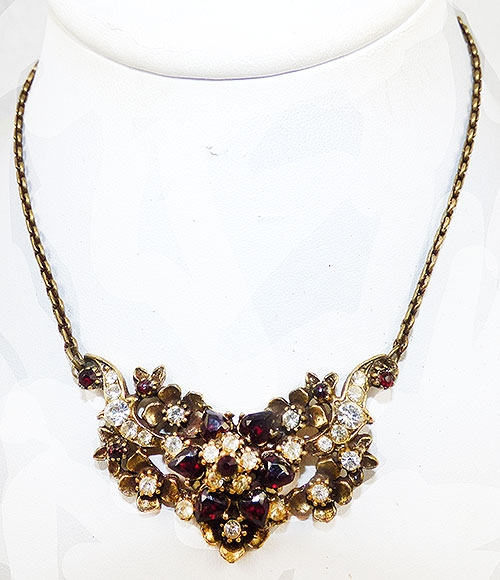 Newly Added Garnet Glass and Clear Rhinestone Necklace
